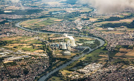 Aerial of Grosskrotzenburg power station Royalty Free Stock Photography