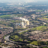 Aerial of Grosskrotzenburg power station, Main river, Germany, H Royalty Free Stock Image