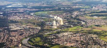 Aerial of Grosskrotzenburg power station, Main river, Germany, H Stock Photo