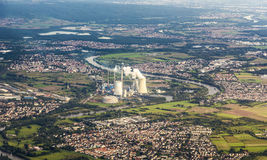 Aerial of Grosskrotzenburg power station, Main river, Germany, H Royalty Free Stock Images