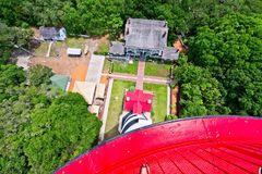 A view from atop of the Lighthouse in St. Augustine, Florida USA. An aerial of the grounds of the St. Augustine lighthouse from the top of the lighthouse Stock Photo