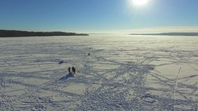 Aerial, group fishermen on the frozen lake in winter stock footage