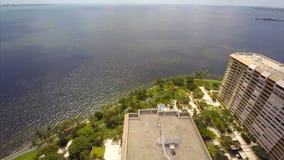 Aerial Grove Isle Coconut Grove Florida stock footage