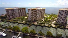 Aerial Grove Isle Coconut Grove Florida stock video