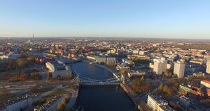 Aerial: Grunwald bridge in Wroclaw during spring on a beautiful sunny day, Poland stock footage