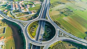 Aerial GSP roundabout, Nicosia, Cyprus. Aerial bird`s eye view of GSP roundabout and A1 highway from Limassol to Nicosia city in Latsia. The circular Stock Photos