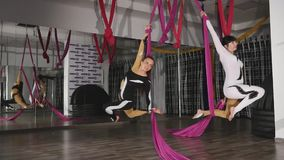 Aerial gymnasts fly and whirl on canvases stock video