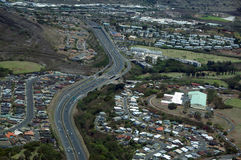 Aerial H-1 Interstate Highway running through Countryside Royalty Free Stock Photography