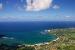 Aerial Hanalei Bay. On the northern shore of the Hawaiian island of Kauai Stock Photos
