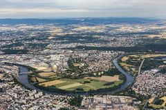 Aerial of Hanau near Frankfurt with river Main loop royalty free stock photos