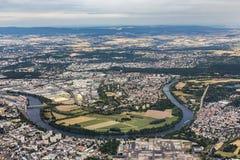 Aerial of Hanau near Frankfurt with river Main loop. Aerial of Hanau near Frankfurt with loop of river Main Royalty Free Stock Photos