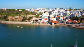 Aerial from the harbor from Alvor Portugal stock video footage