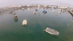 Aerial from the harbor in Lagos Algarve Portugal stock video footage