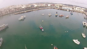 Aerial from the harbor in Lagos Algarve Portugal stock footage