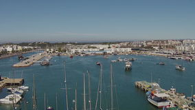 Aerial from the harbor from Lagos Portugal stock video