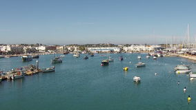 Aerial from the harbor from Lagos Portugal stock footage