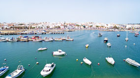 Aerial from the harbor in Lagos Portugal Royalty Free Stock Photo