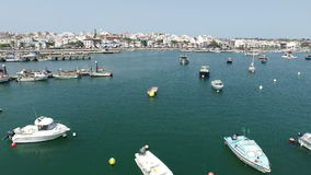 Aerial from the harbor from Lagos in Portugal stock video footage