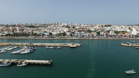 Aerial from the harbor from Lagos in Portugal stock footage