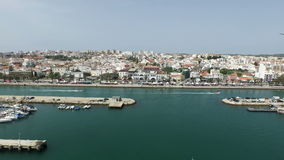 Aerial from the harbor from Lagos in Portugal stock video