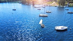 Aerial. Harbour with a parked yachts. royalty free stock image