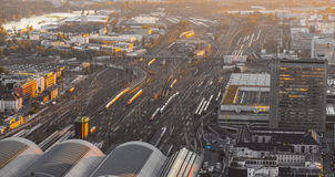 Aerial of the Hauptbahnhof. In Frankfurt an Main  in the evening Royalty Free Stock Photos