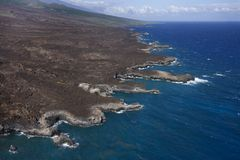 Aerial of Hawaiian shore Stock Photography