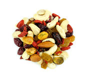 Aerial of healthy mixed fruits and nuts snack Stock Image