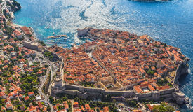 Dubrovnik old town. Aerial helicopter shoot of Dubrovnik old town Royalty Free Stock Photography