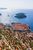 Dubrovnik old town. Aerial helicopter shoot of Dubrovnik old town and island Lokrum Royalty Free Stock Image
