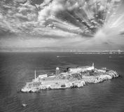 Aerial helicopter view of Alcatraz Island, San Francisco Royalty Free Stock Image