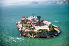 Aerial helicopter view of Alcatraz Island, San Francisco Royalty Free Stock Photography