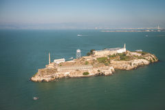 Aerial helicopter view of Alcatraz Island, San Francisco Stock Photo