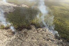 Aerial helicopter view of lava field near Kilauea volcano, Big Island, Hawaii. Aerial open helicopter shot of a lava field near the Kilauea volcano, Big Island Royalty Free Stock Photos