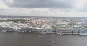 Aerial high altitude photo of St. Petersburg neva with view of dvortsovaya naberezhnaya in summer day Stock Images