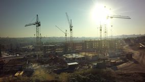 Aerial High building under construction site.  royalty free stock photo