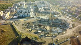Aerial High building under construction site.  stock photography