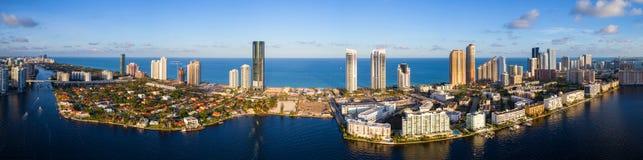 Amazing aerial panorama Sunny Isles Beach FL, USA. Aerial high def image of Sunny Isles Beach FL Royalty Free Stock Photos