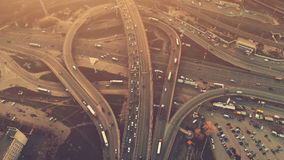 Aerial High Drone Flight Over Evening Road Traffic In Kiev Royalty Free Stock Images