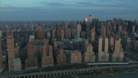 Aerial high rise buildings in New York City. Video of aerial high rise buildings in New York City stock video footage