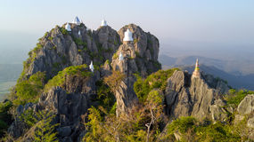 Aerial high view on mountain temple Royalty Free Stock Photo