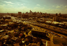 Aerial High View Over Austin Looking East Sepia Austin Texas 2016 Skyline Aerial Royalty Free Stock Photo