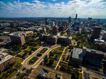 Aerial High View over texas state capital building with Austin Skyline in the background Royalty Free Stock Image