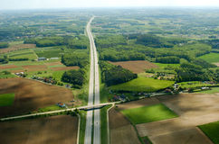 Aerial highway. Aerial view over highway in Belgium Stock Photo