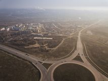 Aerial of highway city intersection junction summer Top View royalty free stock images