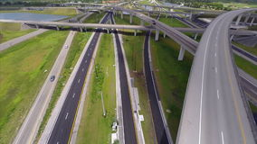 Aerial highway interchange stock video
