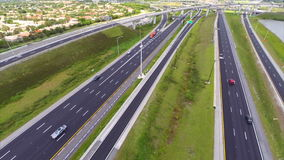 Aerial highway interchange 4 stock video