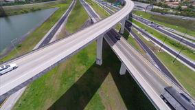 Aerial highway interchange 5 stock video