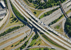 Aerial Highway Junction. Interstate crossing over another interstate from aerial view Royalty Free Stock Photo