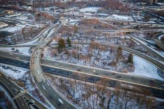 Aerial of Highway Traffic stock photos